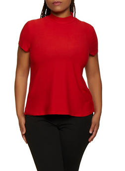 Plus Size Soft Knit Mock Neck Top - 3915001443131