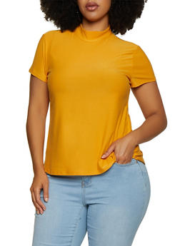 Plus Size Soft Knit Mock Neck Top - 3915001443131