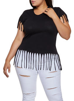 Plus Size Basic Fringe Tee - 3915033872175
