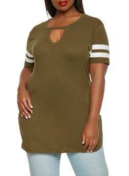 Plus Size Keyhole Tunic Top - 3915033873625