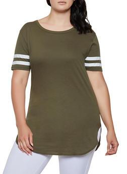 Plus Size Varsity Stripe Tunic Tee - 3915033876995