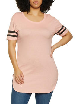 Plus Size Varsity Stripe Tunic Tee - 3915033876995