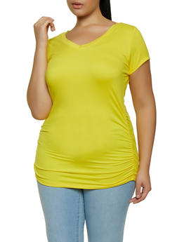 Plus Size Ruched Side Top - 3915038344161