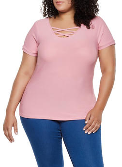 Plus Size Caged Stretch Tee - 3915038344162
