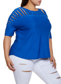 Plus Size Slashed Yoke Top - 3915038344163