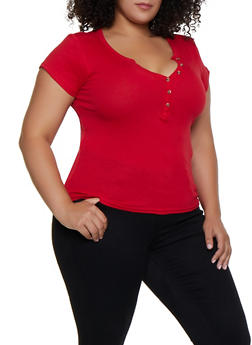 Plus Size Ribbed Henley Top - 3915038344290