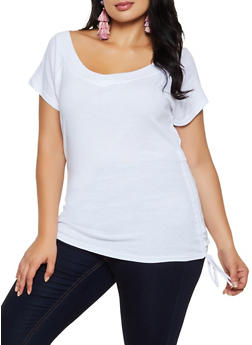 Plus Size Ruched Drawstring Top - 3915038344301