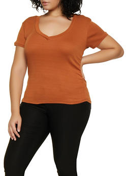 Plus Size V Neck Tee | 3915038344303 - 3915038344303