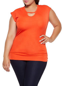 Plus Size Keyhole Neck Ruched Top - 3915038349127