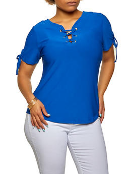 Plus Size Solid Lace Up Top - 3915038349252