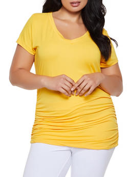 Plus Size Ruched Side V Neck Tee - 3915038349275