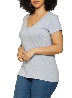 Plus Size V Neck Tee | 3915054260066 - 3915054260066
