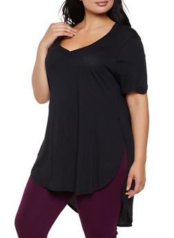Plus Size Round Hem High Low Tee - 3915054260091