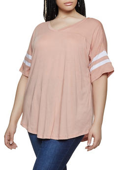 Plus Size Varsity Stripe V Neck Tee - 3915054260502
