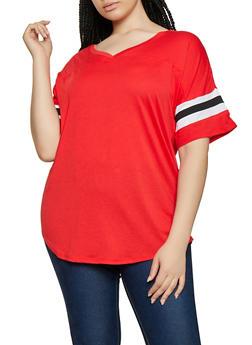 Plus Size Varsity Stripe V Neck Tee - 3915054260502