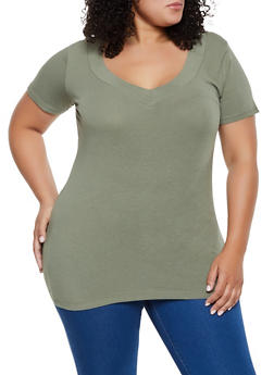 Plus Size Wide V Neck Tee - 3915054260556