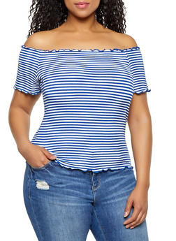 Plus Size Striped Lettuce Edge Off the Shoulder Top - 3915054260783