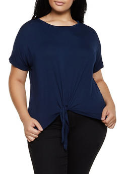 Plus Size Fixed Cuff Tie Front Tee - 3915054261533