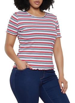 Plus Size Striped Lettuce Edge Top - 3915054261961