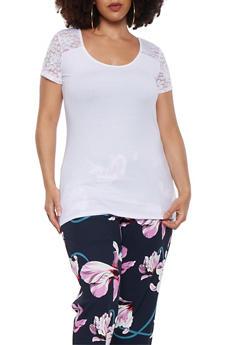 Plus Size Lace Trim Yoke Tee - 3915054262997