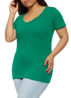 Plus Size Basic V Neck Tee - 3915054265056