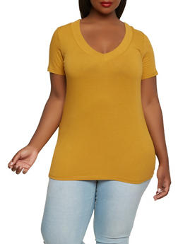 Plus Size Basic V Neck Tee - 3915054265056