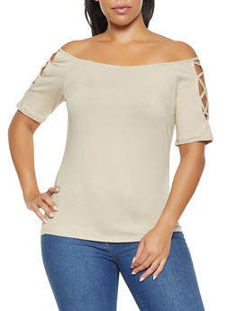 Plus Size Caged Off the Shoulder Top - 3915054265881