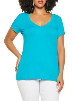 Plus Size Basic V Neck Tee - 3915054265999