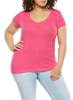 Plus Size Basic V Neck Tee - 3915054265999