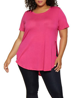 Plus Size Round Hem Side Slit Tee - 3915054269401