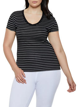 Plus Size Striped V Neck Tee | 3915062706301 - 3915062706301