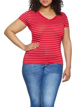 Plus Size Striped V Neck Tee | 3915062706301 - 3915062706301