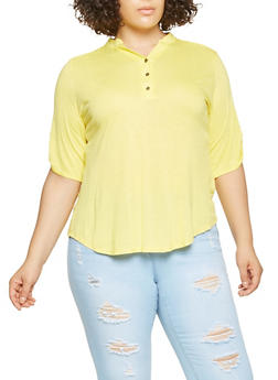 Plus Size Button Front Detail Top - 3915074284001