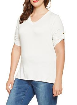 Plus Size Tabbed Sleeve Tee - 3915074284002