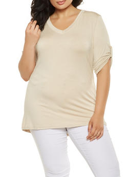 Plus Size Tabbed Sleeve Tee - 3915074284002