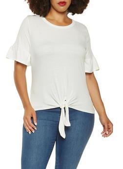 Plus Size Tie Front Tee - 3915074284005