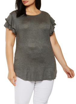 Plus Size Basic Tiered Sleeve Tunic Top - 3915074284006