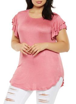 c078ecd6f28cf Plus Size Basic Tiered Sleeve Tunic Top - 3915074284006