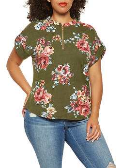 Plus Size Floral Soft Knit Top - 3915074287138