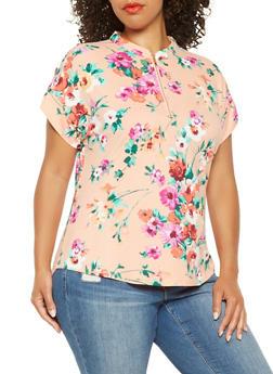 Plus Size Floral Soft Knit Top - 3915074287138