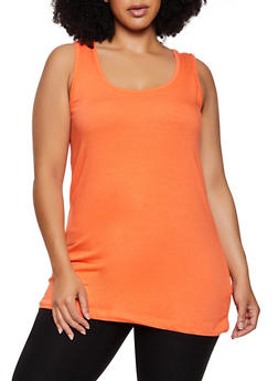 Plus Size Scoop Neck Basic Tank Top - 3916015050120