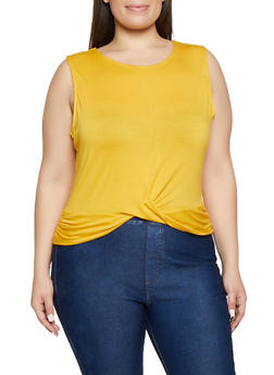 Plus Size Sleeveless Twist Front Top - 3916054260929