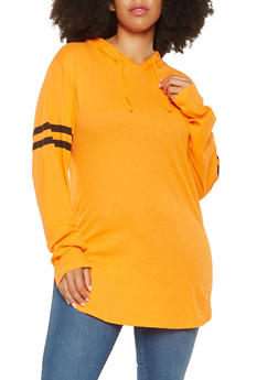 Plus Size Hooded Tunic - 3917033870115
