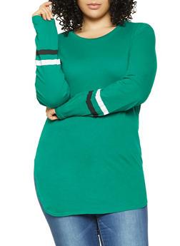 Plus Size Varsity Stripe Detail Tunic Tee - 3917033871116