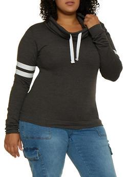 Plus Size Funnel Neck Sweatshirt - 3917033871225