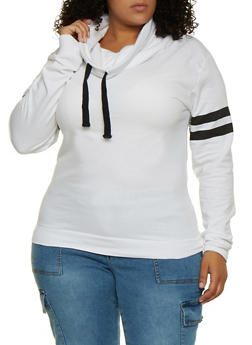 Plus Size Funnel Neck Sweatshirt - 3917033871225
