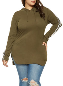 Plus Size Hooded Varsity Stripe Tunic Top - 3917033872115