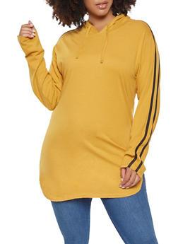 Plus Size Hooded Varsity Stripe Tunic Top - 3917033872115