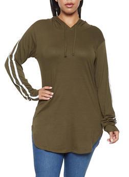 Plus Size Varsity Stripe Tunic Top - 3917033872116