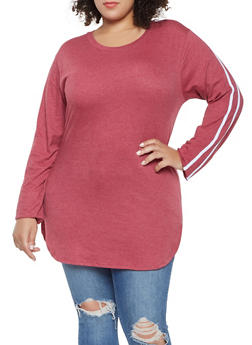 Plus Size Varsity Stripe Tee - 3917033873115